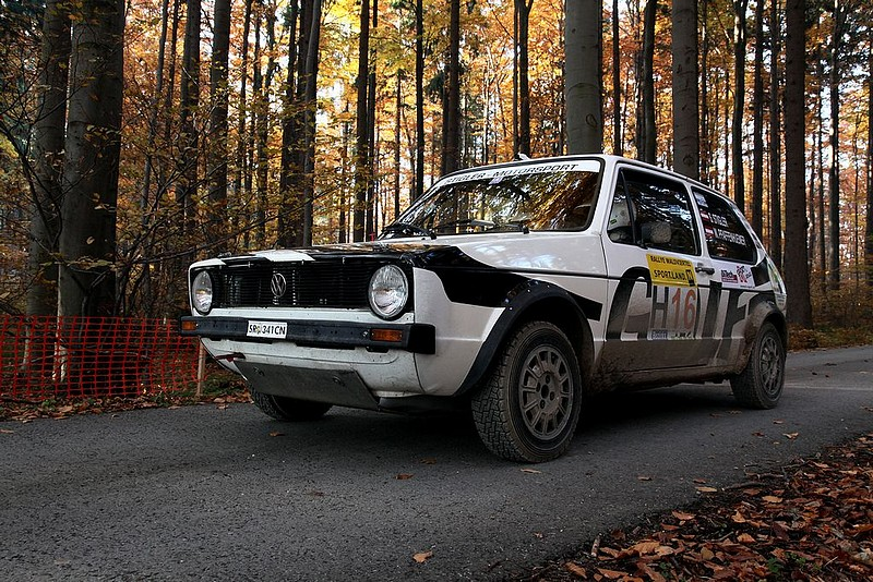 VW Golf GTI vor Start im Wald